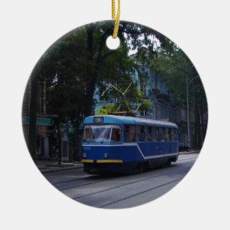 Tram In The Ukraine Round Ceramic Decoration