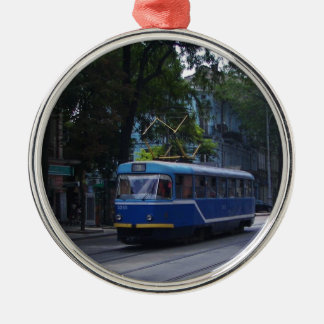 Tram In The Ukraine Silver-Colored Round Decoration