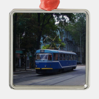 Tram In The Ukraine Silver-Colored Square Decoration