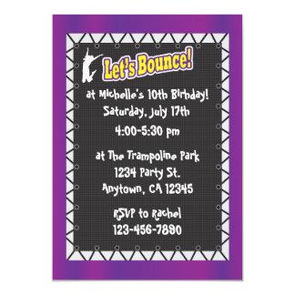Trampoline Birthday Party Invitation Purple