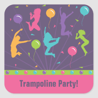 Trampoline Birthday Party Stickers for Girls
