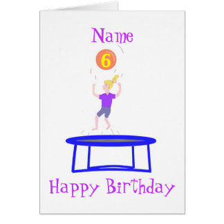 Trampoline Card for girl, add name.