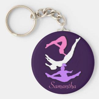 Trampoline gymnast personalized keychain