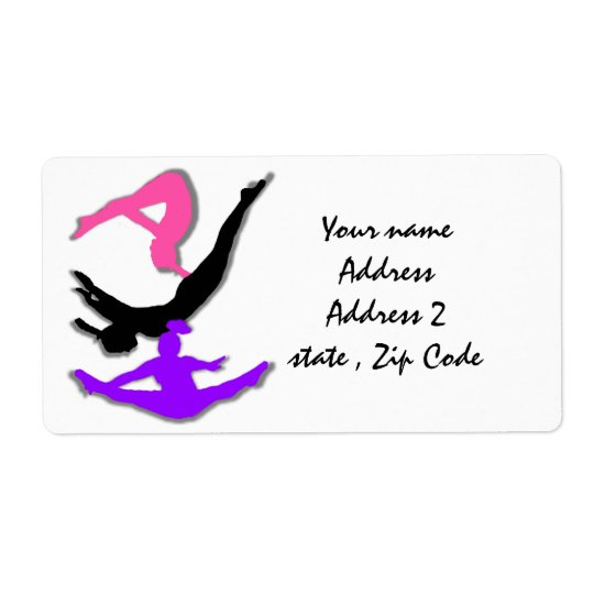 Trampoline gymnast shipping labels