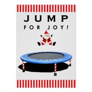 Trampoline Jumping Santa Claus Poster