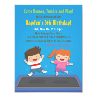 Trampoline Kids Birthday Party Invitations