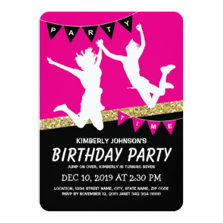 Trampoline Park Girl Pink Kids Birthday Party 11 Cm X 16 Cm Invitation Card
