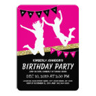 Trampoline Park Girl Pink Kids Birthday Party Card