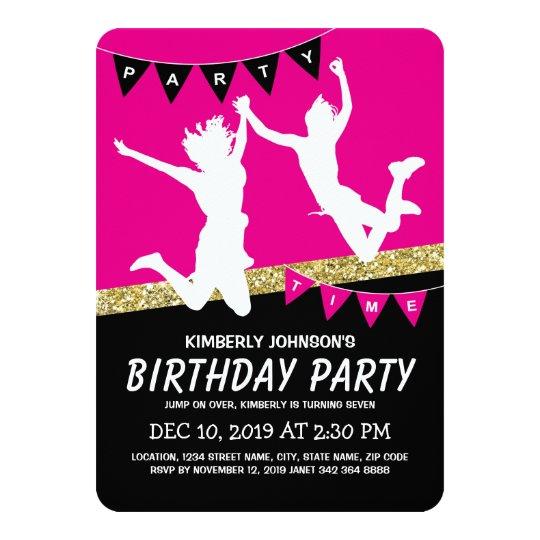 Trampoline Park Girl Pink Kids Birthday Party Invitation