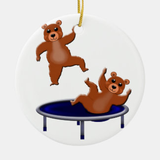 trampolining bears round ceramic decoration