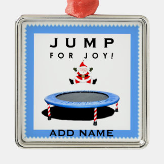 Trampolining Christmas Silver-Colored Square Decoration