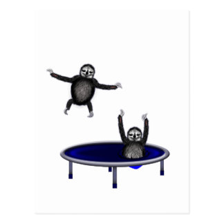 trampolining sloths postcard
