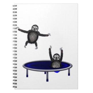 trampolining sloths spiral notebook