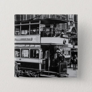 Trams in Manchester, c.1900 15 Cm Square Badge