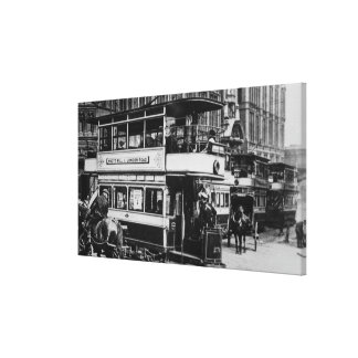 Trams in Manchester, c.1900 Canvas Print