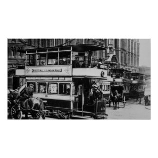Trams in Manchester, c.1900 Poster