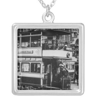 Trams in Manchester, c.1900 Silver Plated Necklace