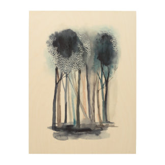 Tranquil Abstract Trees 4 Wood Wall Art