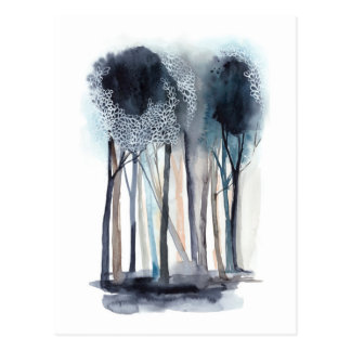Tranquil Abstract Trees Postcard