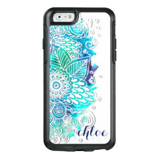 Tranquil Blue and Teal Floral Mandala Design OtterBox iPhone 6/6s Case