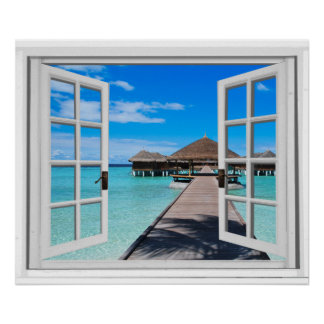 Tranquil Boardwalk Pier Ocean Fake Window View Poster
