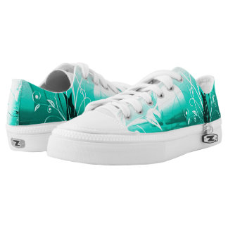 Tranquil Flowers Airbrush Low Top Zipz Printed Shoes