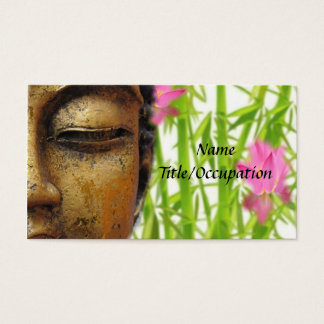 Tranquil Gold Buddha and Floral Business Card
