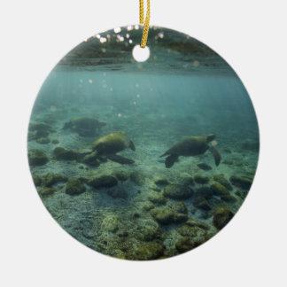 Tranquil ocean sea turtles underwater Galapagos Christmas Ornament