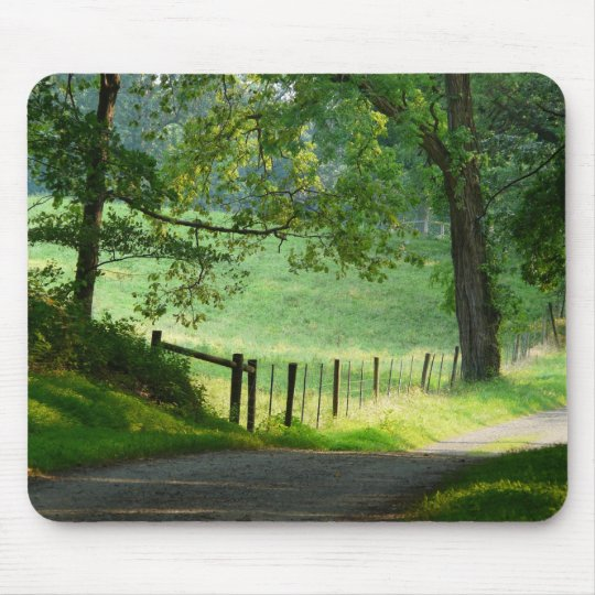 """Tranquil Path""-Country Lane Landscape Mouse Pad"