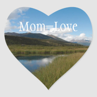 Tranquil River; Happy Mother's Day Heart Stickers