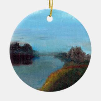 Tranquil River Scene (A Breath along the Severn) Round Ceramic Decoration