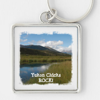 Tranquil River; Yukon Chicks ROCK! Silver-Colored Square Key Ring
