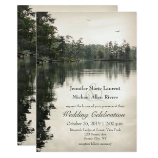 tranquil rustic lake evergreens reflection wedding card