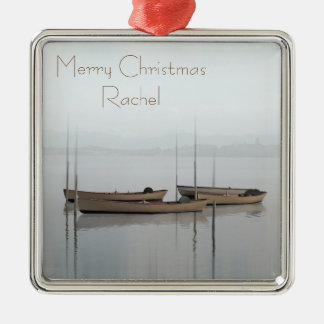 Tranquil scene boats in a still bay christmas ornament