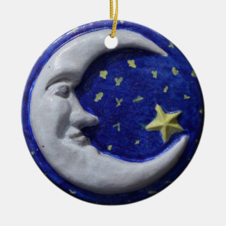 Tranquil Smiling Moon Round Ceramic Decoration
