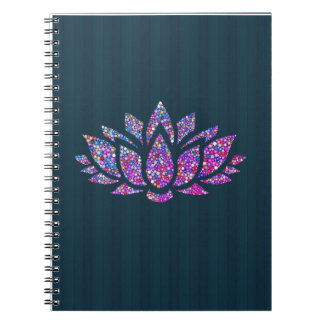 Tranquil Teal & Rainbow Lotus Flower Notebook