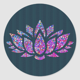 Tranquil Teal & Rainbow Lotus Flower Sticker