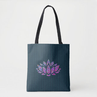 Tranquil Teal & Rainbow Lotus Flower Tote Bag