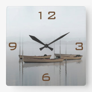 Tranquility Boats on a lake Square Wall Clock