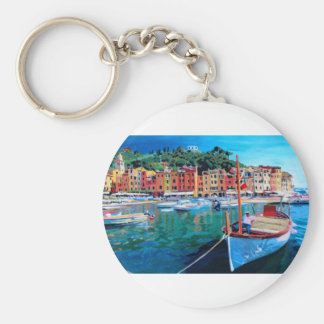 Tranquility in the Harbour of Portofino Keychain