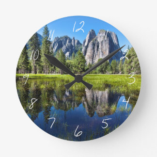 Tranquility In Yosemite Round Clock