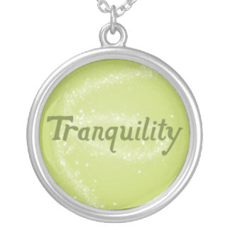 Tranquility on a Calming Green Background Round Pendant Necklace