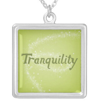 Tranquility on a Calming Green Background Square Pendant Necklace