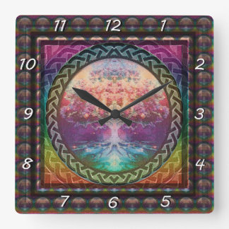 Tranquility Tree of Life in Rainbow Colors Square Wall Clock