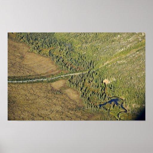 Trans Alaska Pipeline crossing tributary of Koyuku Posters