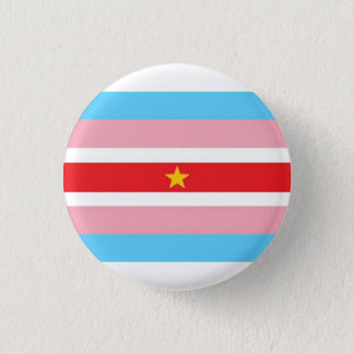 Trans* flag with red flag, yellow star 3 cm round badge