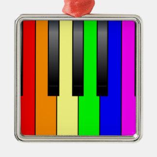 Trans Gay Piano Keys Silver-Colored Square Decoration