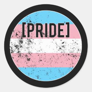 Trans Pride Circle Round Sticker