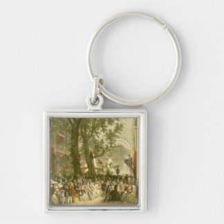 Transept of the Crystal Palace, 1851 (coloured lit Silver-Colored Square Key Ring
