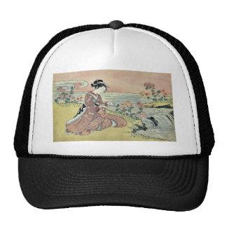 Transformation of Kikujiro by Suzuki, Harunobu Mesh Hat